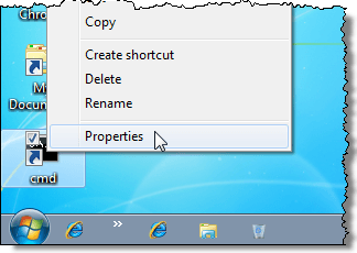 Getting the properties of the cmd shortcut