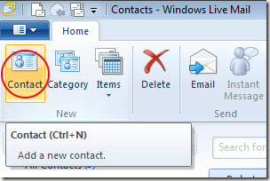 Add New Contact to Windows Live Mail
